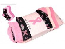 Breast Cancer Awareness 3 Pack Socks -Style 04