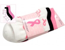 Breast Cancer Awareness 3 Pack Socks -Style 07