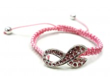 Pink Crystal Breast Cancer Awareness Ribbon Bracelet