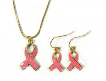 Pink Ribbon Pendant and Earrings Set - Gold Plated