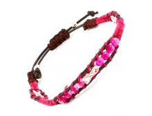 Adjustable Pink Cord Bracelet with Breast Cancer Awareness Ribbon and beads