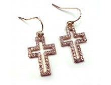 Pink Ribbon Cross Earring