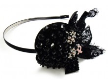 Pink Ribbon Black Bead Headband