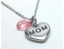 Mom Heart Pink Toggle Pendant