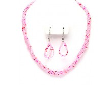 Pink Multi Strand Necklace and Earing Set