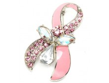 Pink Breast Cancer Awareness Ribbon Pendant & Brooch with Pink CZ and Crystal Studs