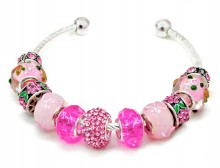 Pink Ribbon Glass Bead Bangle with Pink Crystal Flower Rhinestone