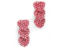 Pink Ribbon Crystal Heart Dangling Stud Earrings