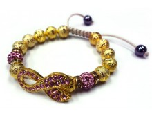 Breast Cancer Ribbon Gold Beaded Adjustable Bracelet