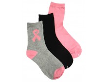 Breast Cancer Awareness 3 Pack Socks -Style 10