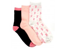 Breast Cancer Awareness 3 Pack Socks -Style 02