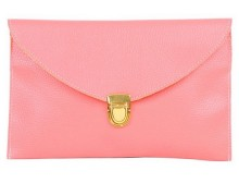 Pink Carryall Envelope Clutch Bag