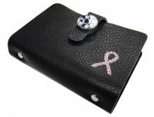 Pink Ribbon Leather Credit Card / Name Card Holder - Black