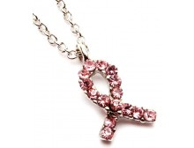 Pink Ribbon Small Crystal Studded Pendant