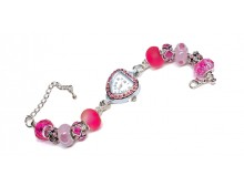 Pink Ribbon Cz Bead Watch