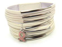 Multi-Layer Leather Bracelet w/Pink Ribbon Charm -White
