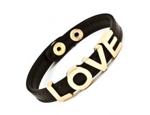 LOVE Black Leather Bracelet