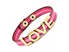 LOVE Fuchsia Leather Bracelet