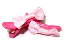 Pink Ribbon Bow Snap Hair Clip