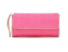 Pink Ribbon Weave Fabric Clutch