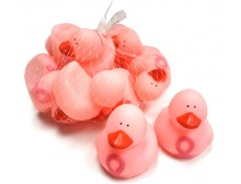 Light Pink Ribbon Squeaking Bath Ducks 1 Dz (12 pcs)