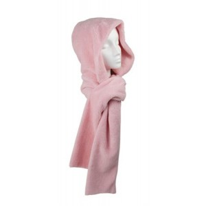 Pink Cozy Hooded Scarf
