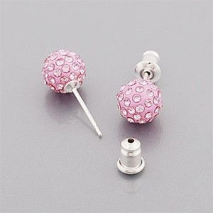 Pink Ribbon Shamballa Stud Earrings
