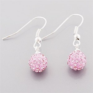 Breast Cancer Pink Shamballa Dangling Earrings
