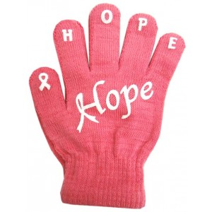 "Ladies Non-Skid Pink Ribbon Gloves ""Hope"" - Style 03"
