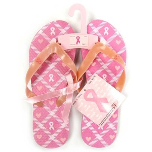 Pink Ribbon Flip Flops - Think Pink Hearts