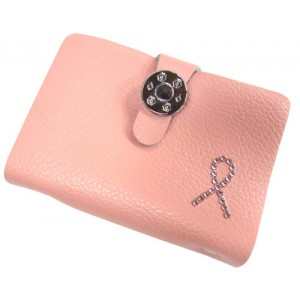 Pink Ribbon Leather Credit Card / Name Card Holder - Pink