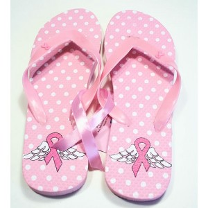 Pink Ribbon Flip Flops - Wings