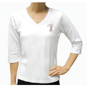 """One Cause One Cure"" V-neck 3/4 Sleeves White Small T-shirt"