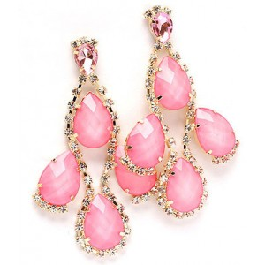 Pink Linear Drop Earrings