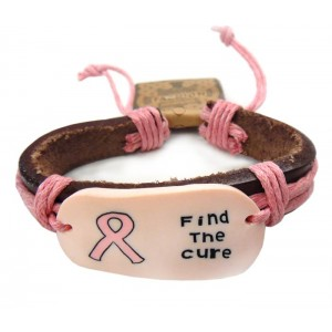 """Find the Cure"" Pink Ribbon Leather Cord Bracelet"