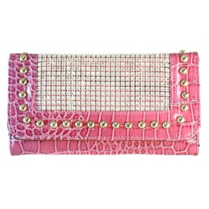 Pink Ribbon Fuchsia Wallet with Faux Crystals and Metal Dots Design