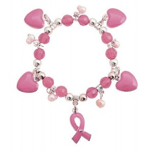 Pink Heart & Ribbon Bracelet