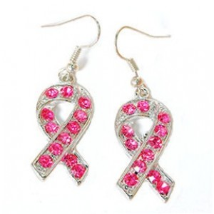 Pink Ribbon Cz Earrings