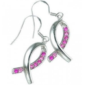 Pink Ribbon Cz Silver Earrings