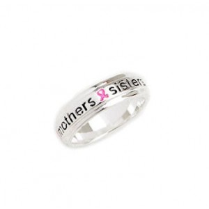 "Pink Ribbon ""Mothers Sisters Daughters"" Ring"