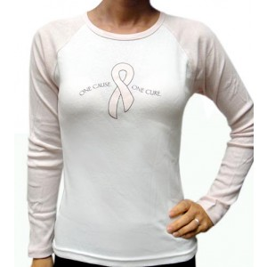 """One Cause One Cure"" Round Neck Pink 3/4 Sleeves White T-shirt - Small"