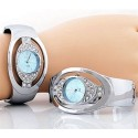 Blue Face Rhinestone Cuff Watch