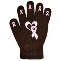 Ladies Non-Skid Pink Ribbon Gloves Heart and Ribbon - Style 04