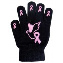 Ladies Non-Skid Pink Ribbon Gloves with Dove - Style 05