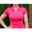 Ladies Pink Ribbon Polo Shirt -Fuchsia