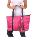 Pink Large Woven Tote Bag