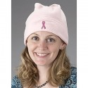 Pink Ribbon Fleece Beanie Cap