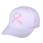 White Pink Ribbon Cap