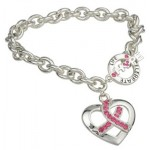 """Heart of Hope, Celebrate Life"" Pink Ribbon Toggle Bracelet"