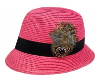 Fuchsia Pink Bucket Hat w/Black Band & Feather